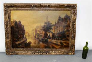 Oil on canvas depicting Dutch canal scene