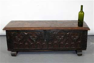 French Gothic Revival trunk in oak with quatre foil