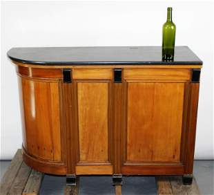 French curved side store counter with marble top