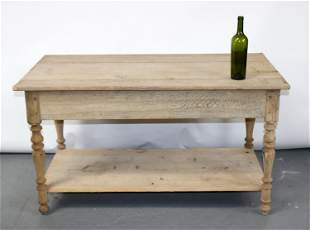 French bleached oak 2 tier shop table