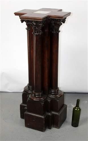 French Gothic Revival oak 4 column pedestal