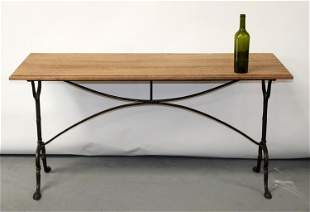 French cast iron bistro table with oak top