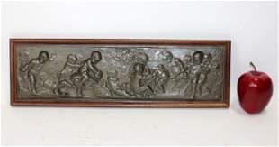 Belgian bas relief plaque of cherubs. Artist signed.