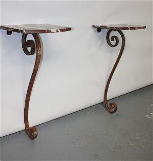 Pair French forged iron wall consoles with marble