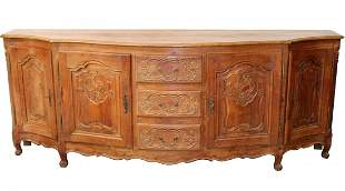 French Louis XV carved oak 4 door enfilade