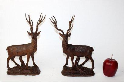 Pair of Black Forest carved walnut figural deer