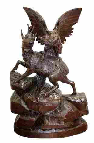 French Black Forest carving of antelope and eagle