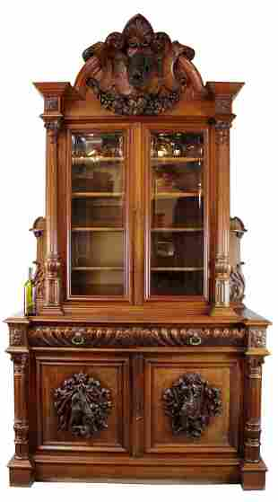 French chateau buffet in carved walnut with boar's head