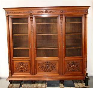 French 19th century 3 door bookcase with griffins