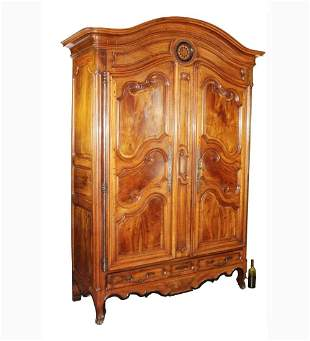 French dome top armoire in walnut with inlaid sun