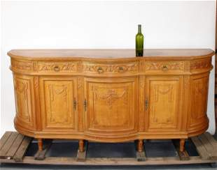 French Louis XVI style carved oak curved sideboard