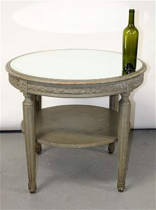 French Louis XVI style painted round cocktail table