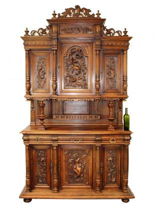 French Renaissance Revival carved walnut buffet