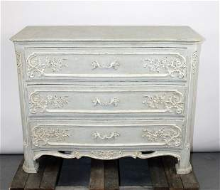 French Louis XV style painted 3 drawer chest