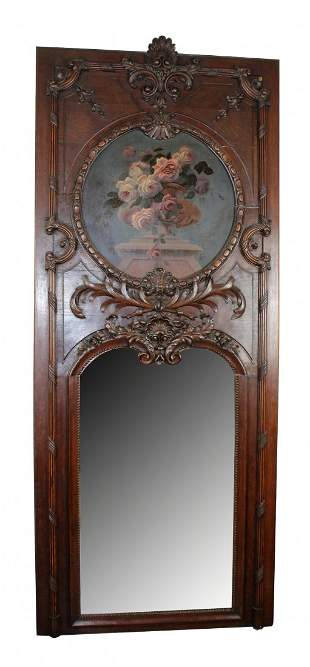 French Louis XV trumeau mirror with still life painting