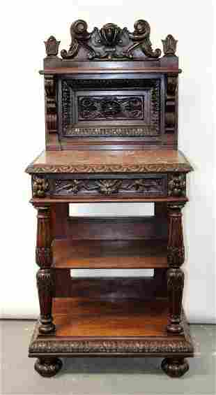 French carved oak tiered server with marble