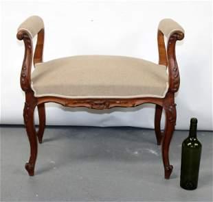 French Louis XV style walnut bench