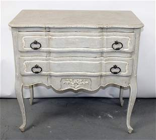 French Louis XV style painted 2 drawer chest