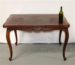French Louis XV style drawleaf parquet top table