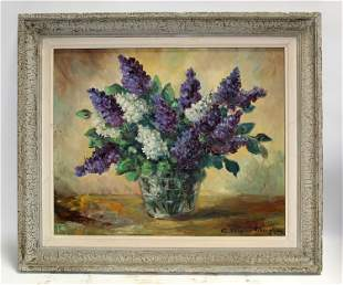 Oliver Tiberghien oil on canvas floral still life