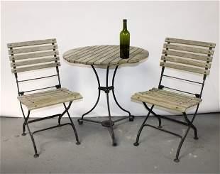 3 piece Smith and Hawken teak & iron garden set