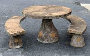 French faux bois garden table & 2 benches