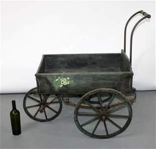 Antique Dutch painted wood & iron florist cart