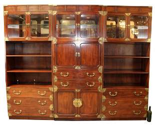 Henredon campaign 3piece bookcase with bar
