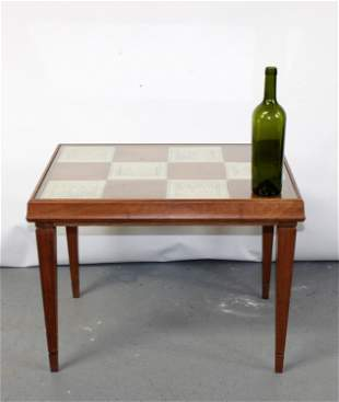 French mid century cocktail table with inset tile