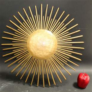 French mid century gilt metal sunburst light