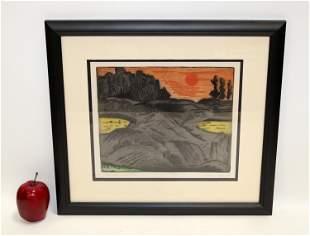 "Karl Schrag etching & aquatint ""Evening Sun-Low Tide"""