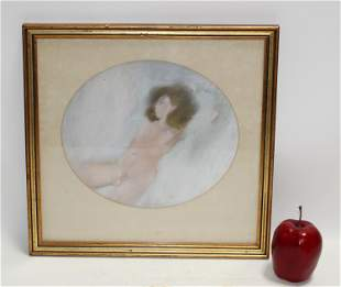French nude pastel drawing on paper