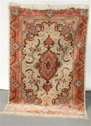 "Persian 4'10"" x 7'5"" wool and silk rug"
