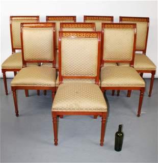 Set of 8 mahogany Greek key border chairs