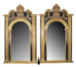 Pair LaBarge black & gold trumeau mirrors with shell
