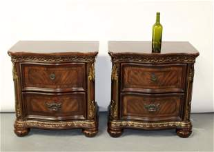 Pair of 2 drawer nightstand chests
