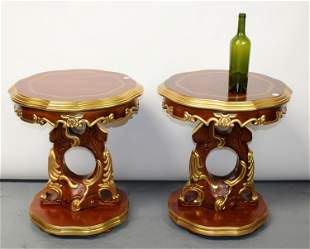 Pair of Rococo style round side tables