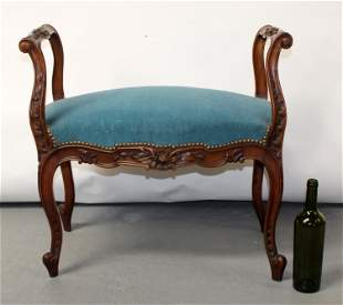 French Louis XV style carved walnut bench