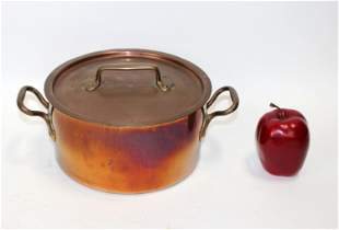 Antique French copper lidded pot with handles