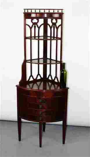 English mahogany corner etagere shelf