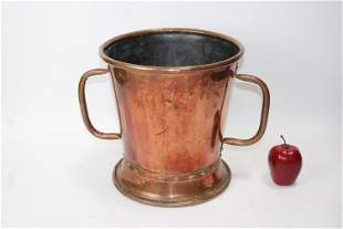 Antique French copper double handled pot