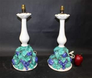 Pair Italian glazed ceramic lamps