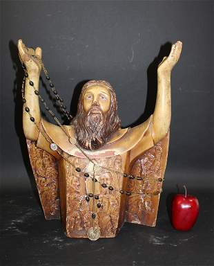 Spanish Colonial carved wood bust of Jesus
