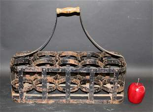 French metal 10 bottle carrier