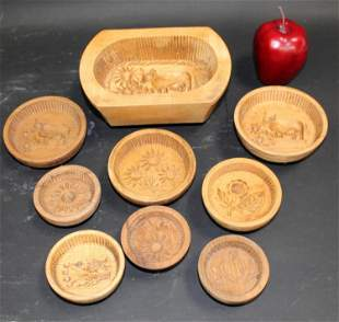 Lot of French wooden butter molds