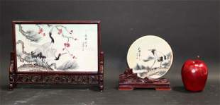 Lot of 2 Chinese hand painted plaques