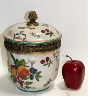 Decorative floral ceramic lidded urn