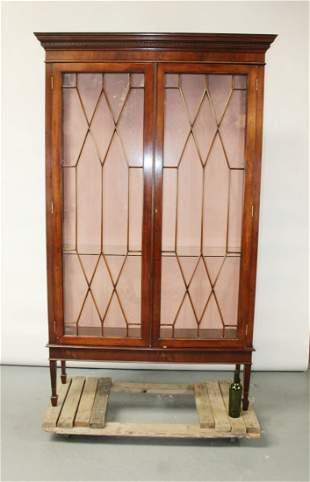 Chippendale style 2 door mahogany display cabinet