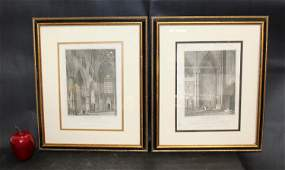 """""""Westminster Abbey"""" pair of framed bookplates"""