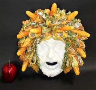 Italian glazed terra cotta Bacchus mask